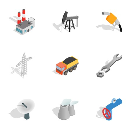 Power industry icons set. Isometric 3d illustration of 9 power industry vector icons for web