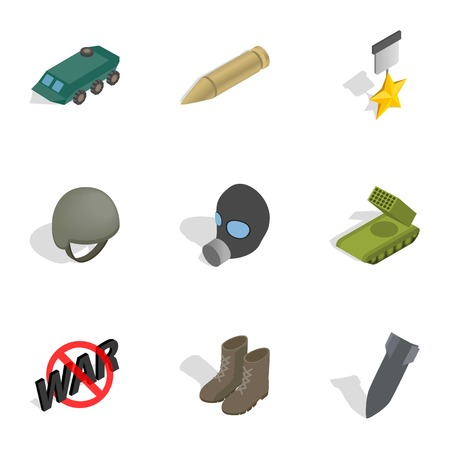 sniper: Universal war icons set. Isometric 3d illustration of 9 universal war vector icons for web
