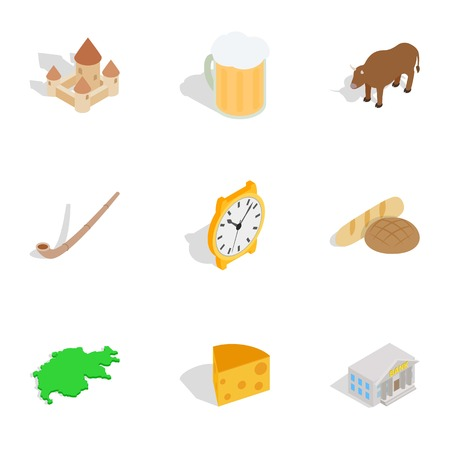 Switzerland travel symbols icons set