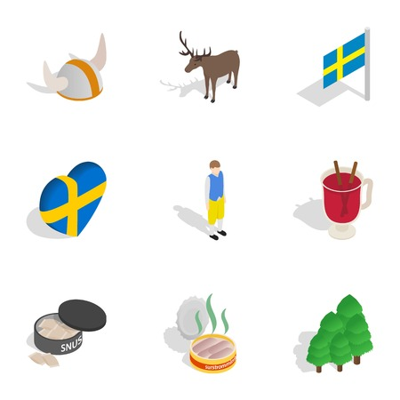 Symbols of Sweden icons set. Isometric 3d illustration of 9 symbols of Sweden vector icons for web Illustration