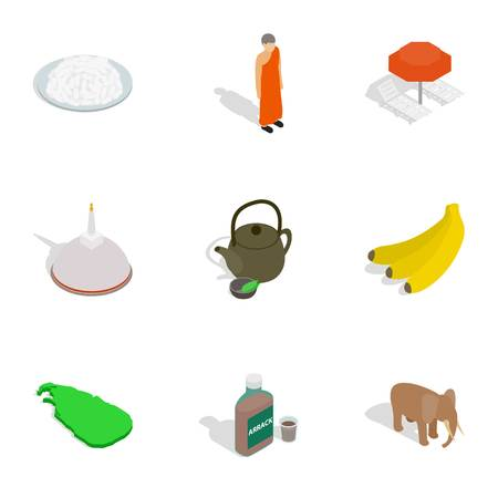 stupa: Sri Lanka travel symbols icons set. Isometric 3d illustration of 9 Sri Lanka travel symbols vector icons for web