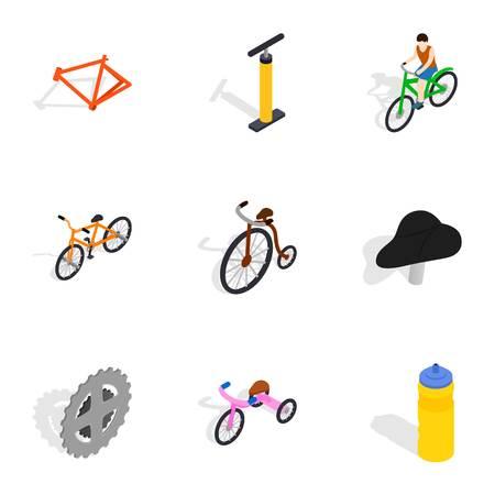 Biking icons set, isometric 3d style
