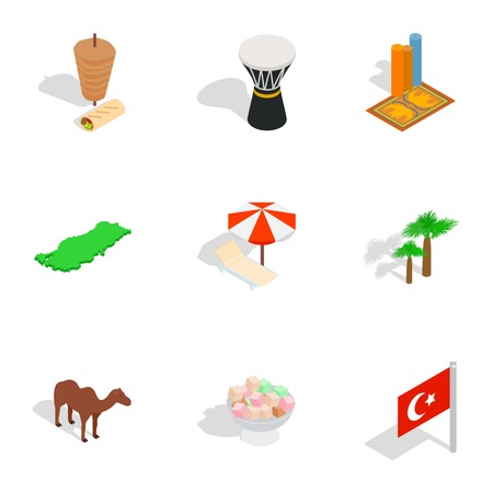 sherbet: Welcome to Turkey icons set, isometric 3d style Illustration