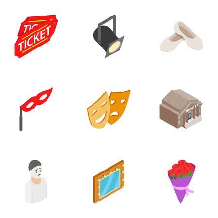 operetta: Entertainment icons set, isometric 3d style