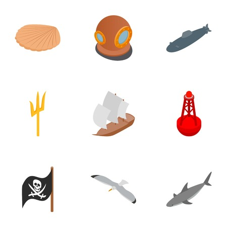 Diver icons set, isometric 3d style