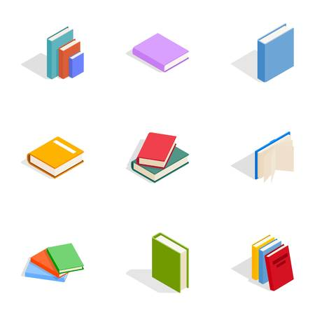 Books icons set, isometric 3d style Illustration