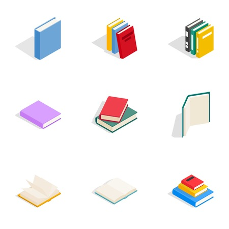 Learning icons set, isometric 3d style
