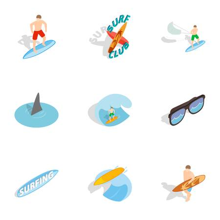 Summer surfing elements icons set. Isometric 3d illustration of 9 summer surfing elements vector icons for web