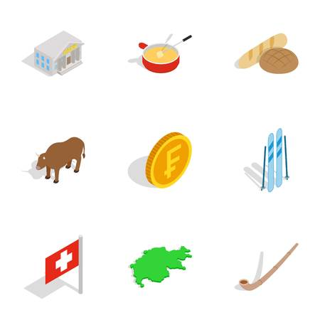 Switzerland icons set, isometric 3d style