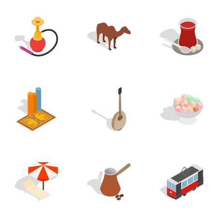 Symbols of Turkey icons set, isometric 3d style Illustration