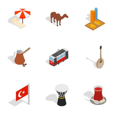 sherbet: Turkish cultural icons set. Isometric 3d illustration of 9 Turkish cultural vector icons for web