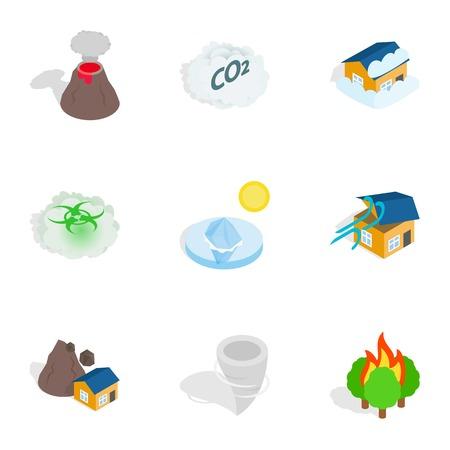 erupting: Catastrophe icons, isometric 3d style