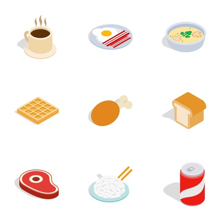 Food icons, isometric 3d style