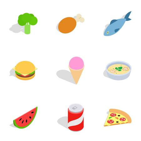 3d pizza: Healthy food icons, isometric 3d style