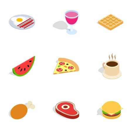 Food and drinks icons, isometric 3d style