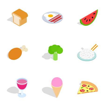 Cuisine menu icons, isometric 3d style
