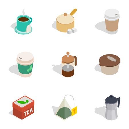 Hot drinks icons, isometric 3d style Çizim
