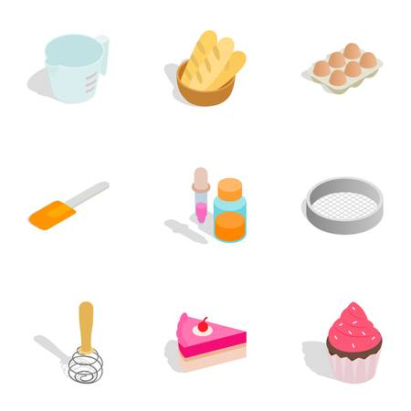 egg roll: Confectionery icons, isometric 3d style
