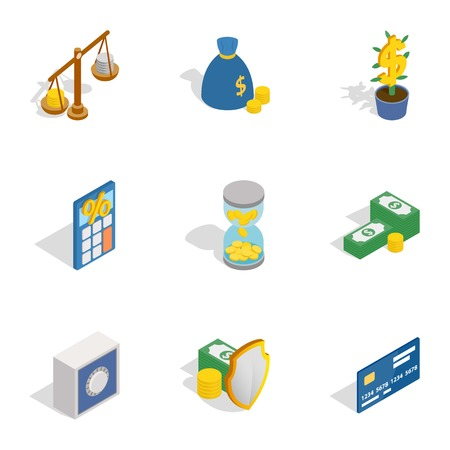 Money and finance icons, isometric 3d style Illustration