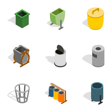 garbage container: Garbage container icons, isometric 3d style