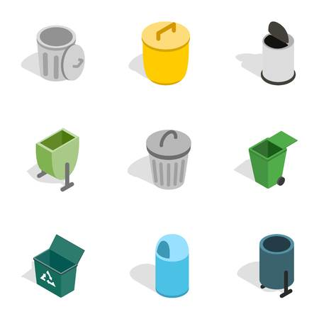 Garbage storage icons, isometric 3d style