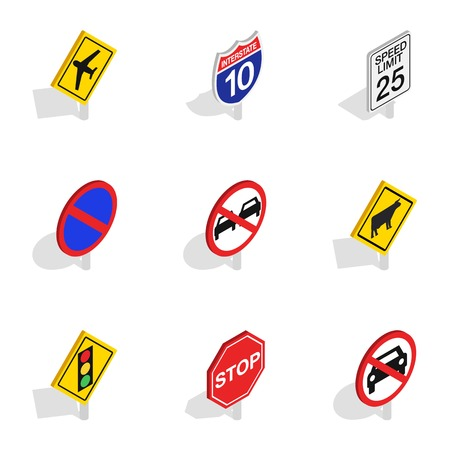 Road sign icons, isometric 3d style