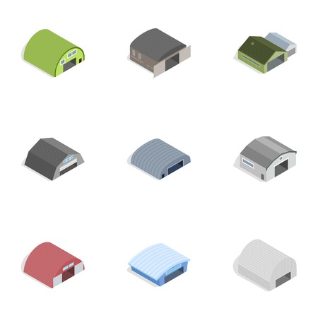 depot: Industrial building icons, isometric 3d style