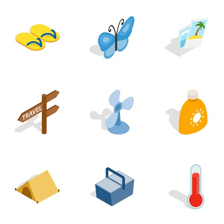 Beach holidays icons, isometric 3d style
