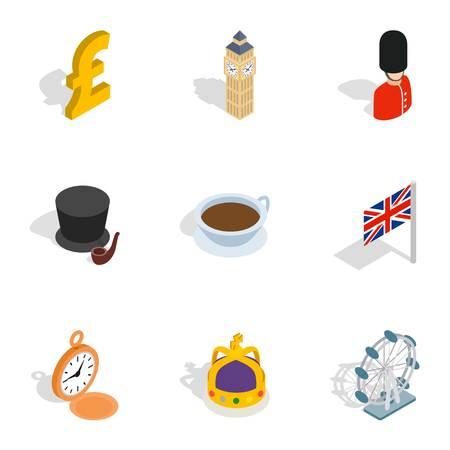 great coffee: United Kingdom icons, isometric 3d style Illustration