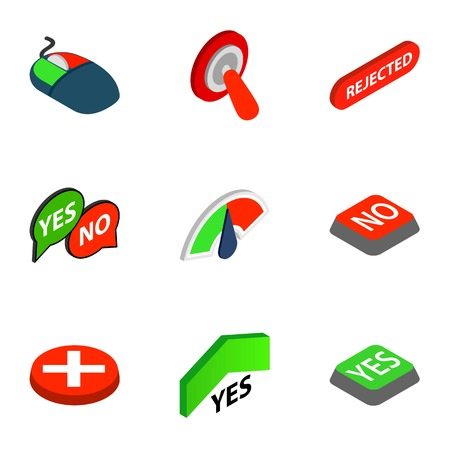 yes no: Yes and No button icons, isometric 3d style