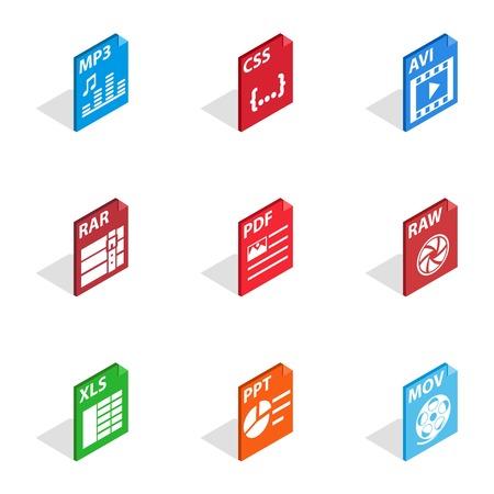 rar: File type icons, isometric 3d style