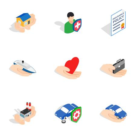insured: Insurance icons, isometric 3d style