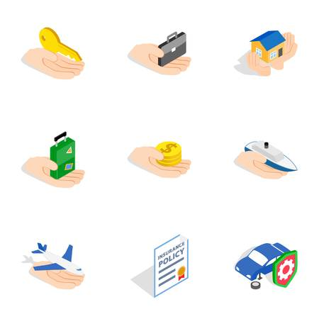 insured: Risk icons, isometric 3d style