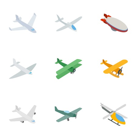airscrew: Flying aircraft icons, isometric 3d style Illustration
