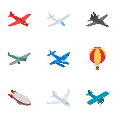 air traffic: Airplane icons, isometric 3d style Illustration