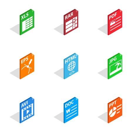 rar: Document file format icons, isometric 3d style Illustration