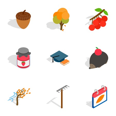 October icons, isometric 3d style