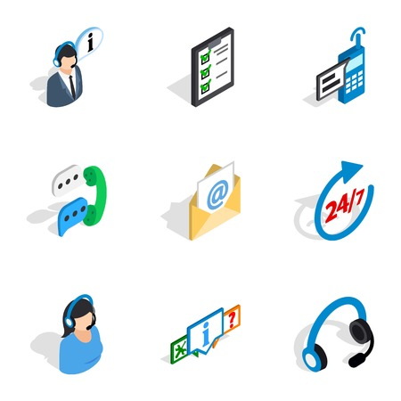all day: All day customer support icons, isometric 3d style
