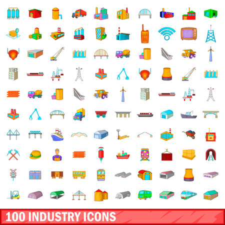 100 industry icons set in cartoon style for any design vector illustration Illustration