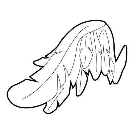 Angel wing icon, outline style Illustration
