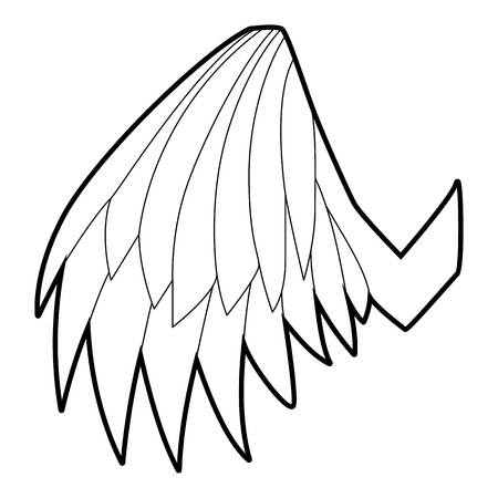 Angelic wing icon, outline style Illustration