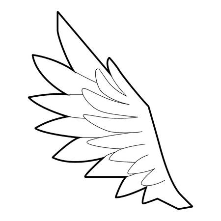 seraphic: Bird wing icon, outline style