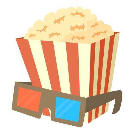 dessert buffet: Popcorn icon, cartoon style Illustration