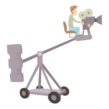 Difficult filming director icon, cartoon style