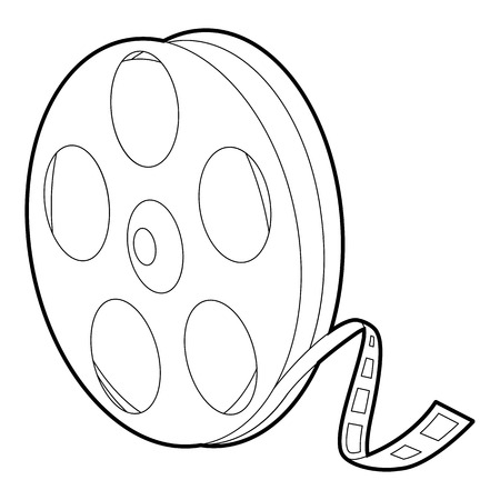 Reel icon, outline style Vector Illustration