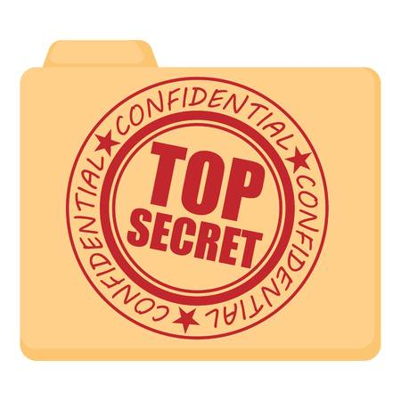 top secret: Top secret icon, cartoon style