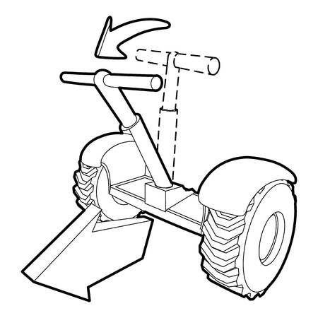 segway: Front inclined segway icon, outline style Illustration