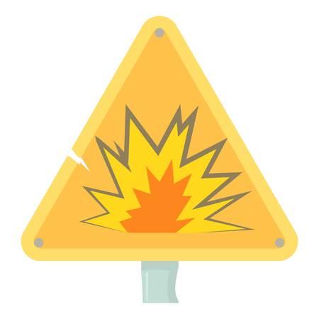 Danger sign icon, cartoon style