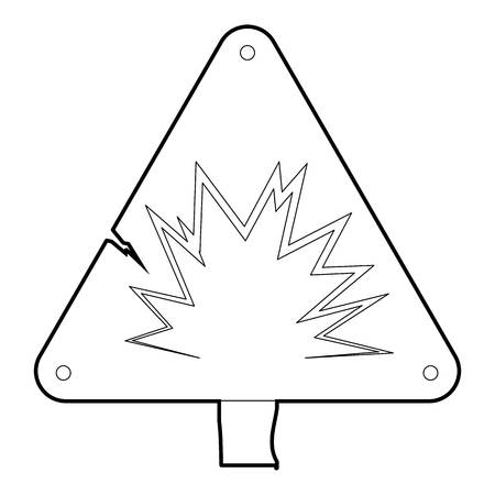 chemical hazard: Danger sign icon, outline style Illustration