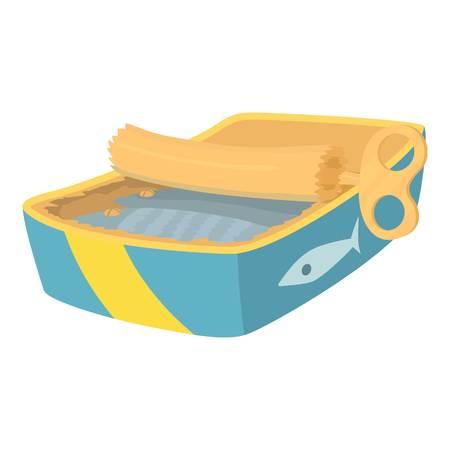 Icono de pescado enlatado, estilo de dibujos animados Foto de archivo - 71748750